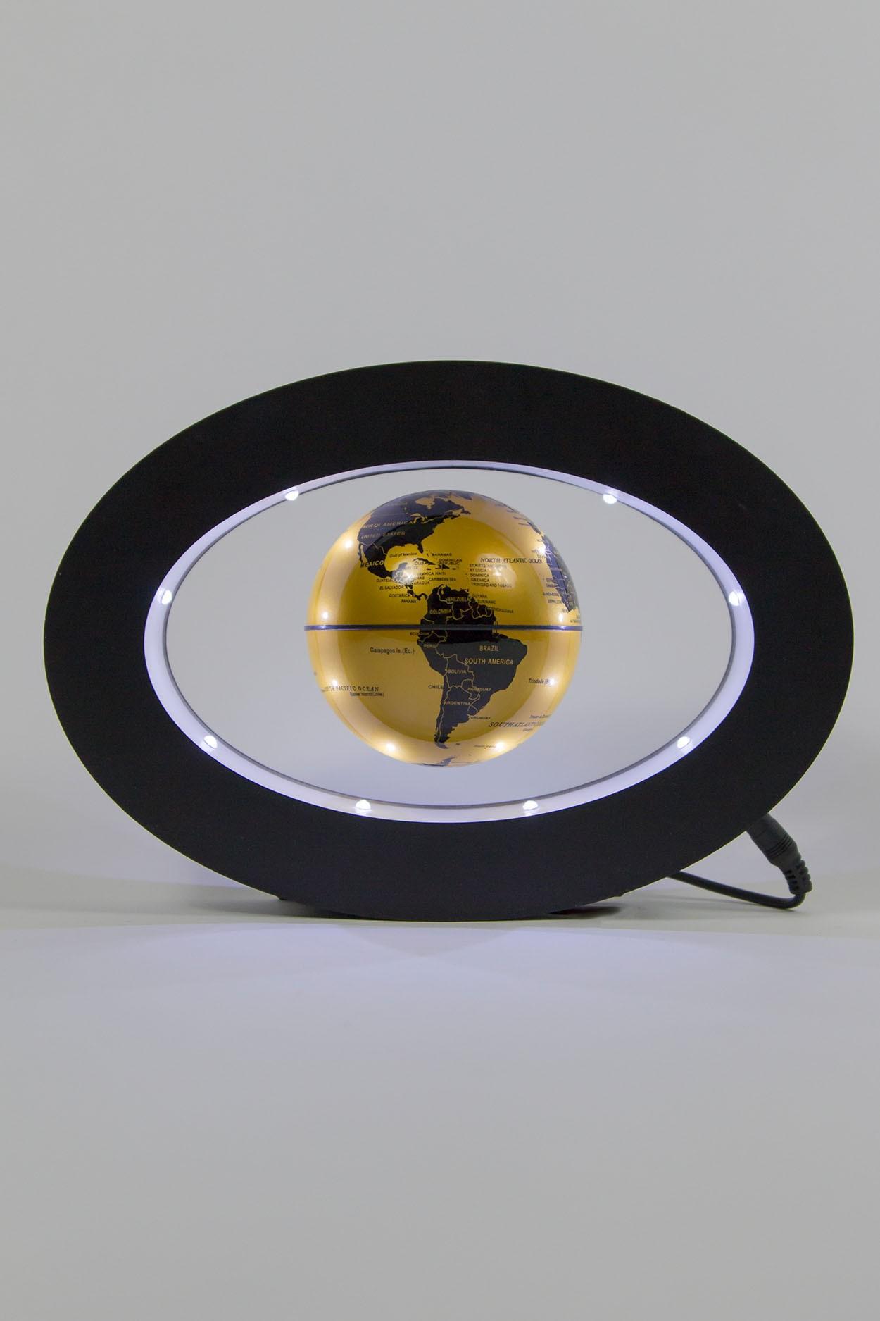 Левитирующий глобус в овальной рамке Золотой (D-9cм) в Ярославле