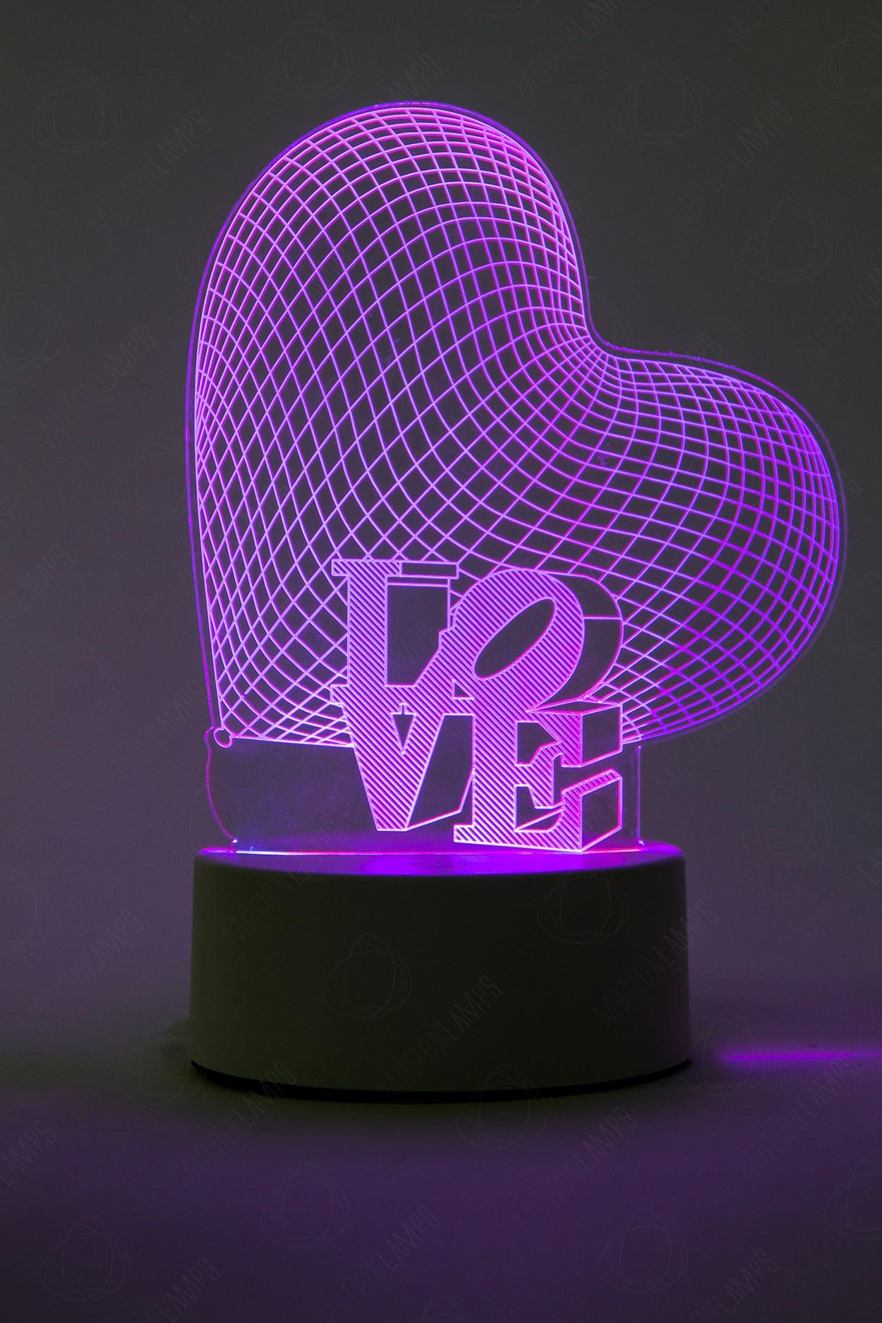 3D светильник Сердце 3 цвета в Ярославле