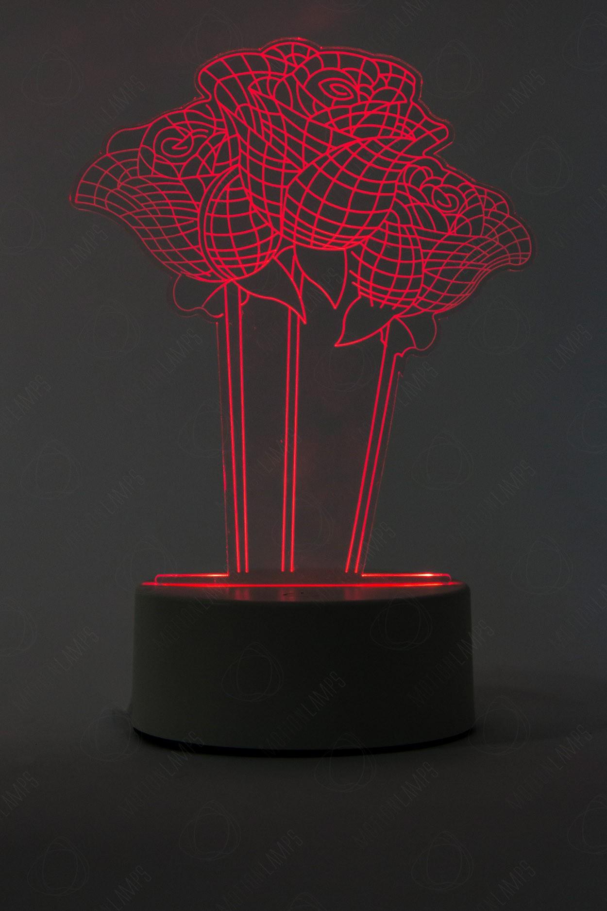 3D светильник Розы 3 шт 3 цвета в Ярославле