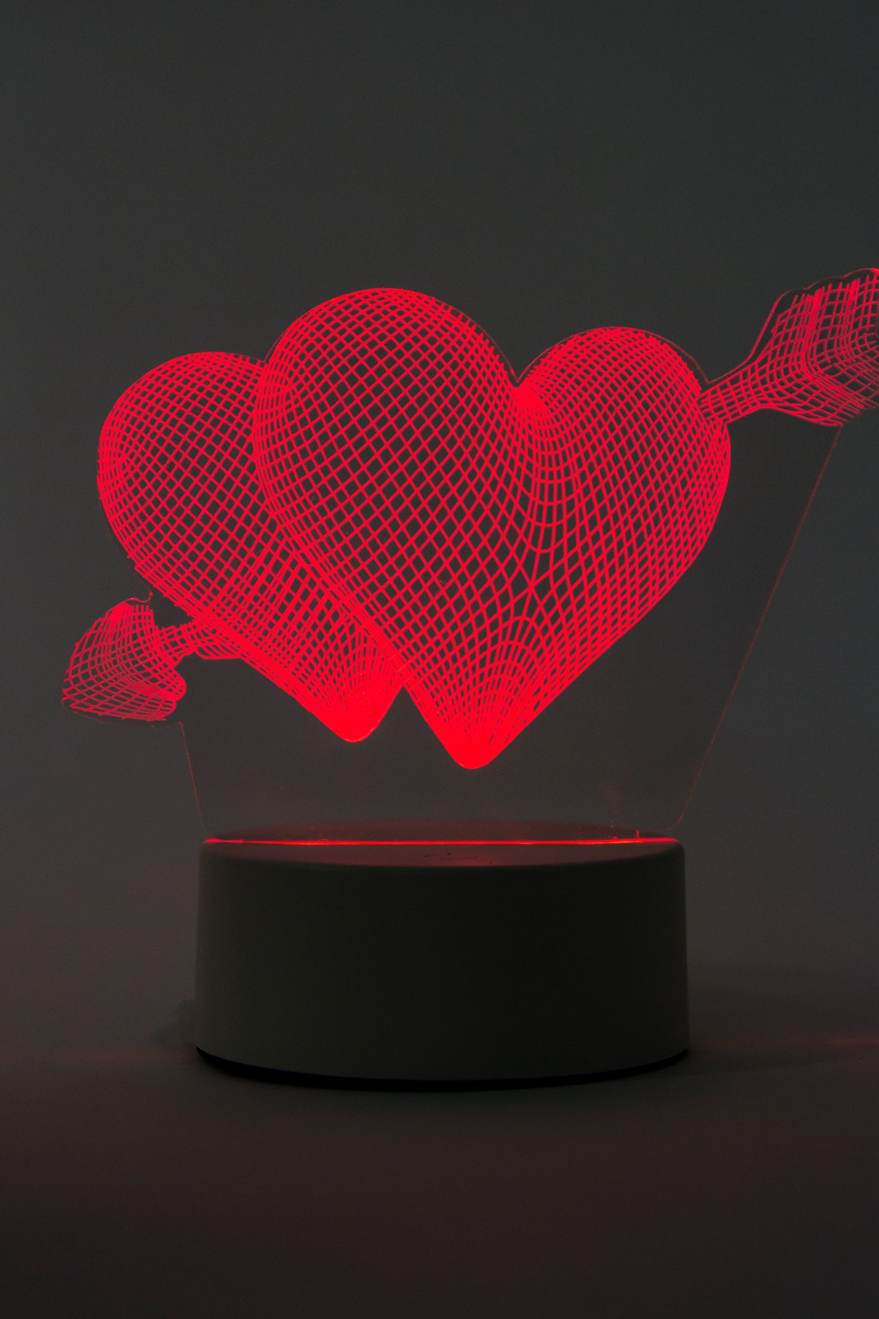 3D светодиодная лампа Сердце со стрелой 3 цвета в Ярославле