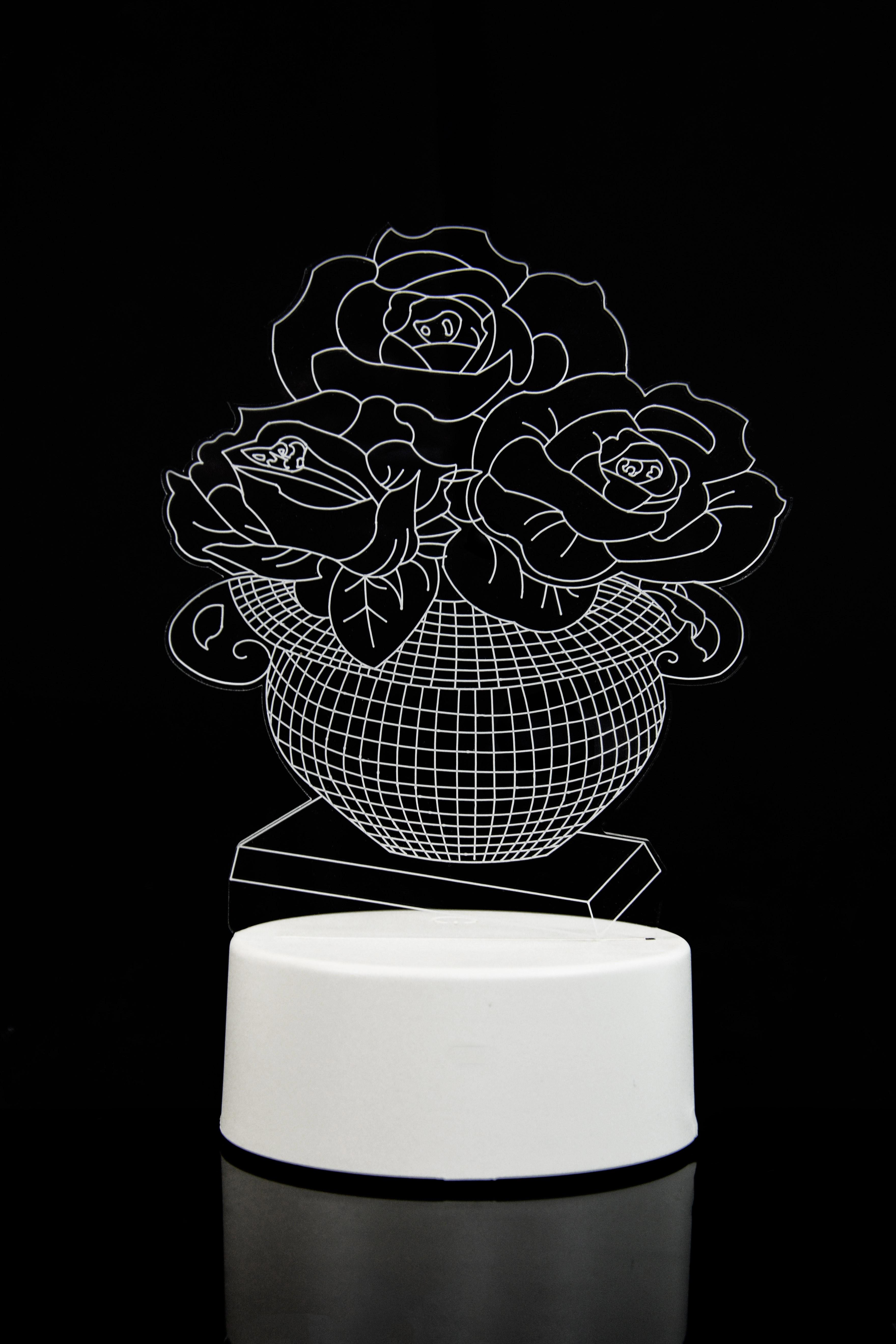 3D светильник Розы в вазе 3 цвета в Ярославле