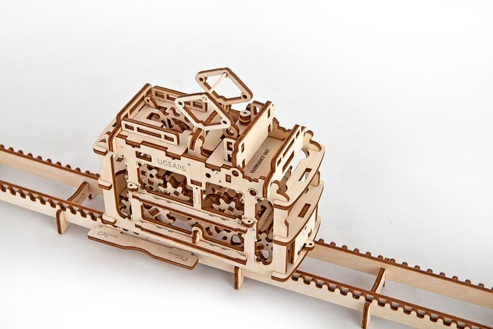 Конструктор 3D-пазл Ugears - Трамвай с рельсами в Ярославле