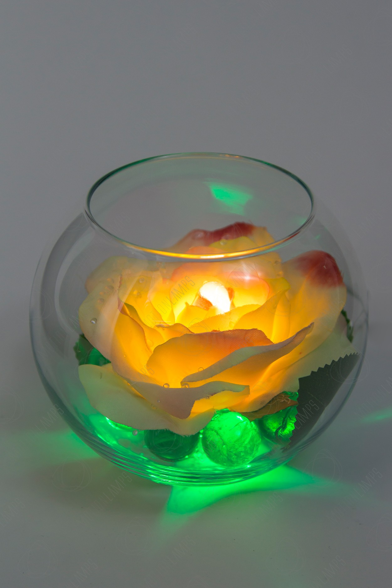 Светящийся цветок Роза в шаре Кремовая в Ярославле