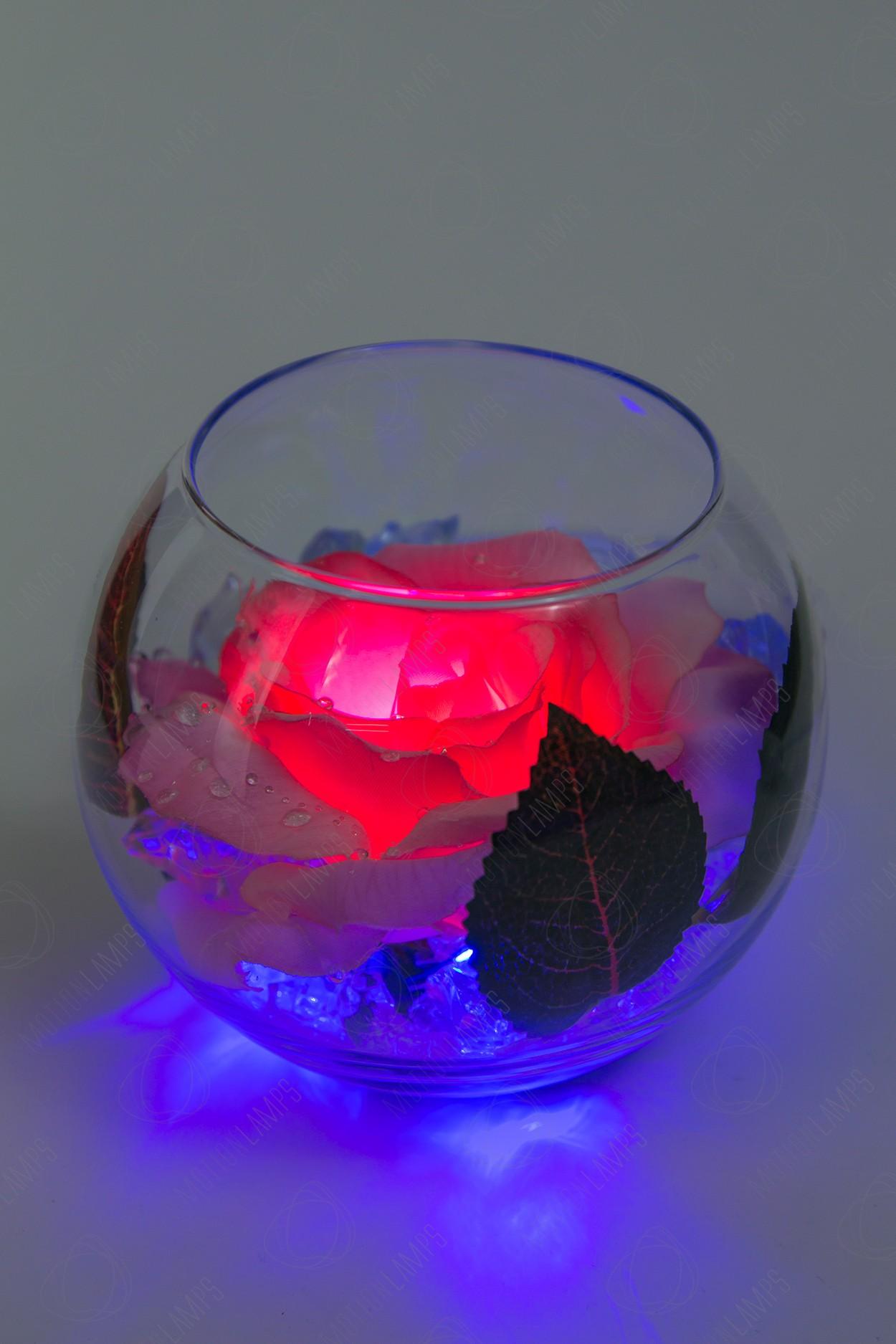 Ночник Роза в шаре Розовая (син) в Ярославле