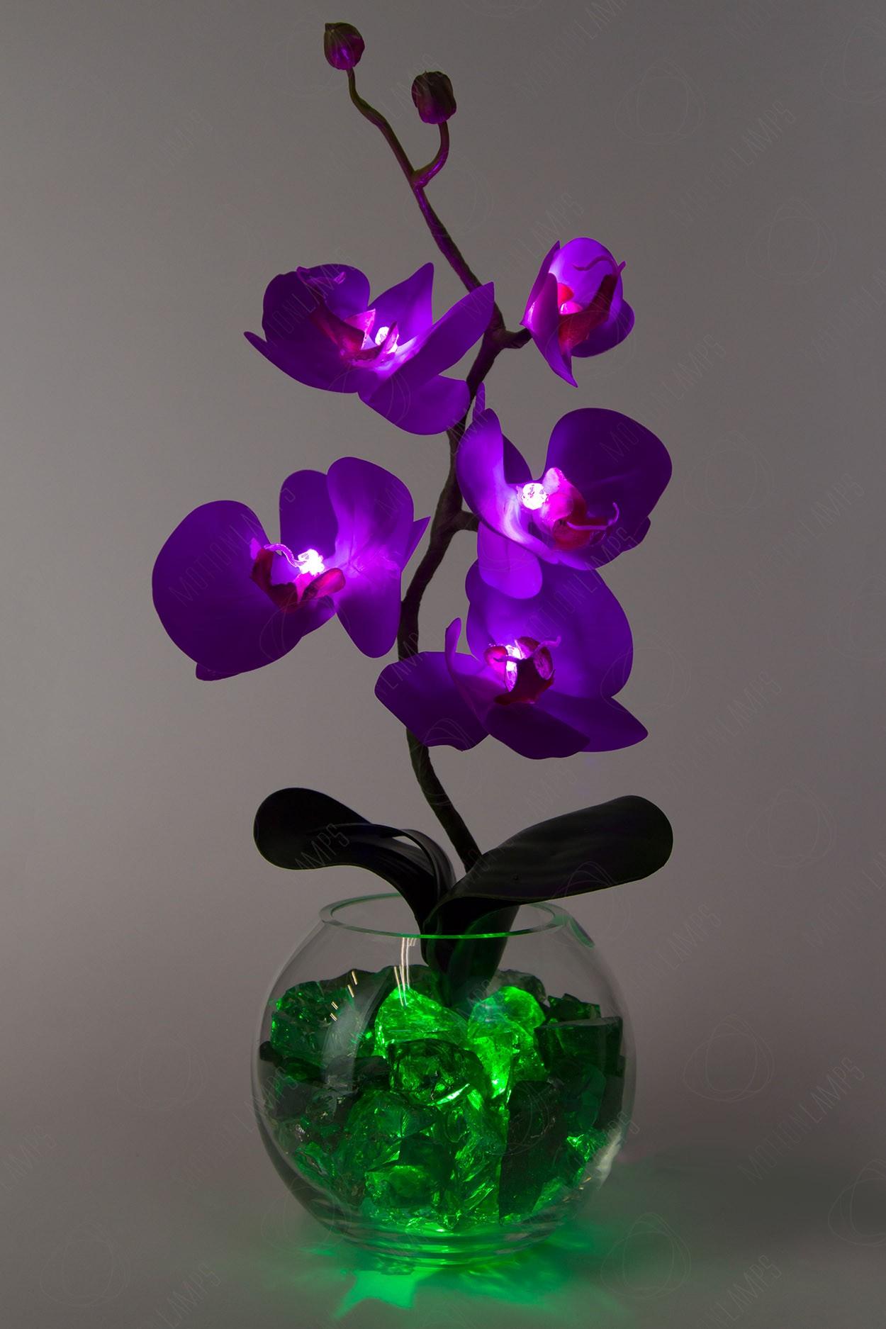 Светильник Орхидея фиолетовый(зел) 5 цветков в Ярославле