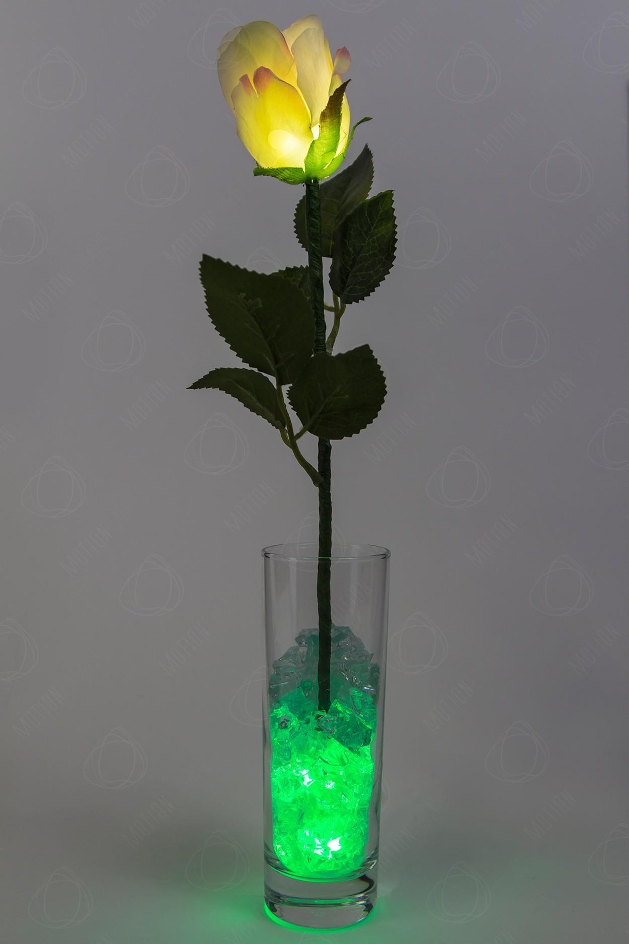 Ночник Роза Кремовая с зелёной подсветкой в Ярославле