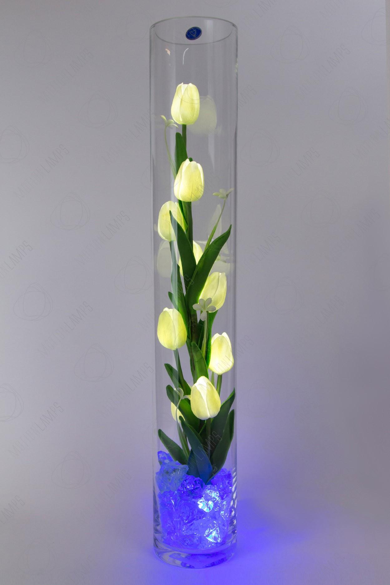 Светодиодный цветок тюльпаны 9шт Белые(син) в Ярославле