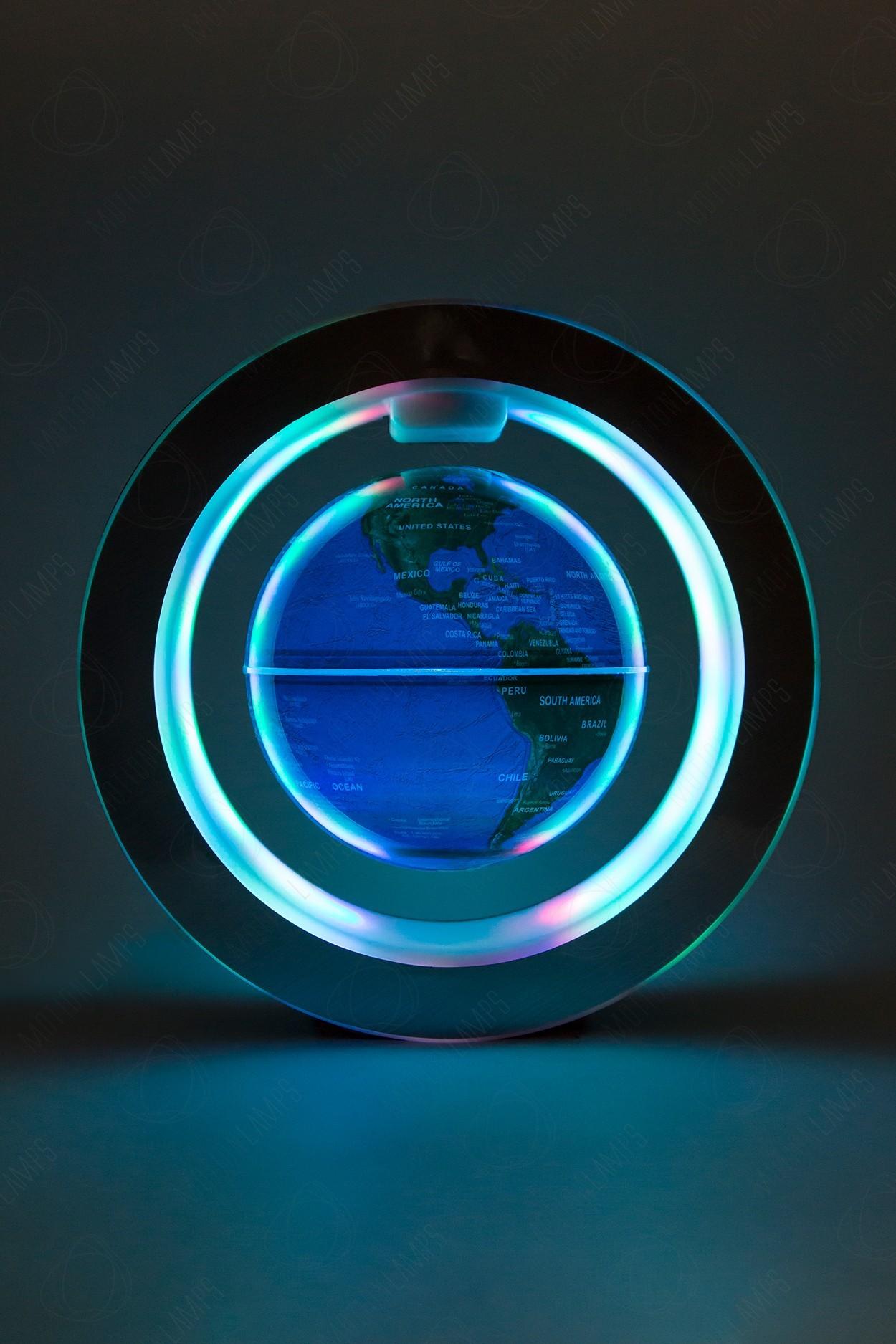 Левитирующий Светящийся глобус в круглой рамке (синий) (D-10cм) в Ярославле